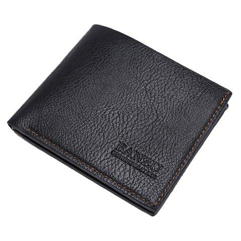 Simple Style Solid Color and PU Leather Design Wallet For Men - BLACK