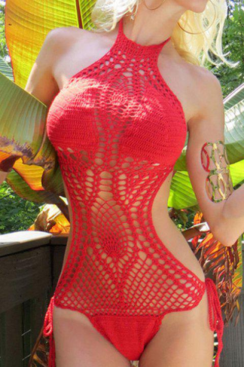 Sexy Halter Knitted Hollow Out One-Piece Swimsuit For Women - RED S