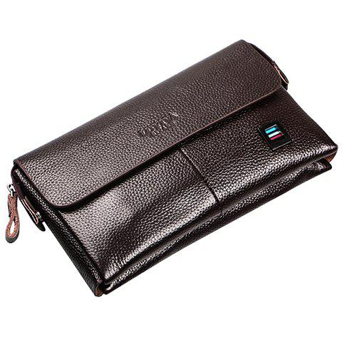 Fashionable Solid Color and PU Leather Design Cluth Bag For Men - BROWN