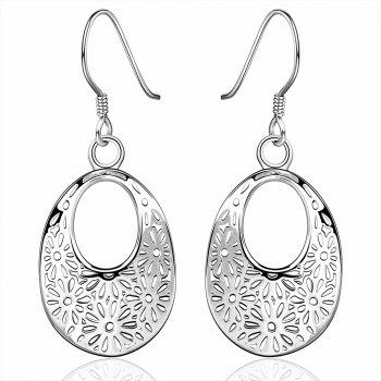 Filagree Flower Ellipse Pendant Earrings
