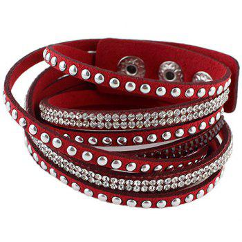 Rivet Faux Leather Layered Bracelet - COLOR ASSORTED