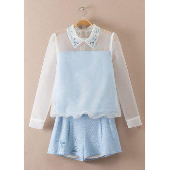 Sweet Organza Flat Collar Long Sleeve Blouse and Shorts Twinset For Women
