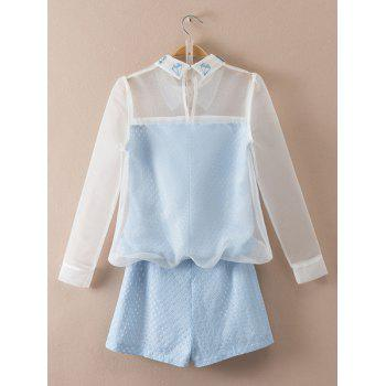 Sweet Organza Flat Collar Long Sleeve Blouse and Shorts Twinset For Women - BLUE/WHITE M