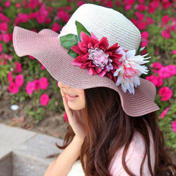 Chic Faux Flower and Leaf Embellished Wavy Brim Women's Sun Hat -  RANDOM COLOR