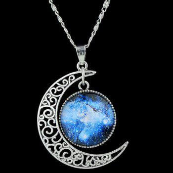 Fake Gemstone Moon Round Pendant Necklace