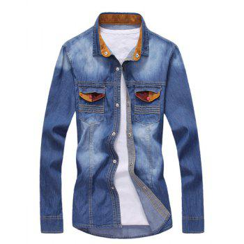 Fashion Color Splicing Turn-down Collar Double Pocket Slimming Long Sleeves Men's Denim Shirt - DEEP BLUE DEEP BLUE