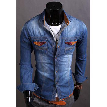 Fashion Color Splicing Turn-down Collar Double Pocket Slimming Long Sleeves Men's Denim Shirt - DEEP BLUE 2XL