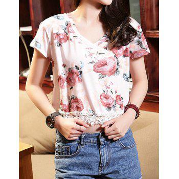 Stylish Floral Print V-Neck Laced Short Sleeve T-Shirt For Women