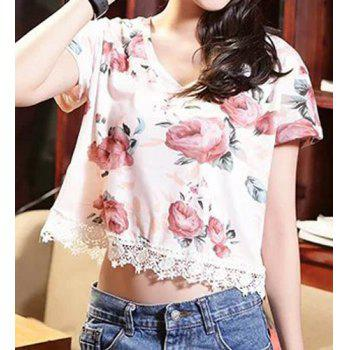 Stylish Floral Print V-Neck Laced Short Sleeve T-Shirt For Women - ONE SIZE(FIT SIZE XS TO M) ONE SIZE(FIT SIZE XS TO M)