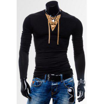 Laconic Personality Color Block V-Neck Slimming Long Sleeves Men's Cotton Blend T-Shirt - BLACK XL