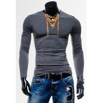 Laconic Personality Color Block V-Neck Slimming Long Sleeves Men's Cotton Blend T-Shirt - GRAY 2XL