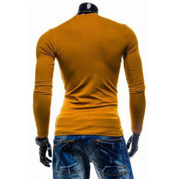 Laconic Personality Color Block V-Neck Slimming Long Sleeves Men's Cotton Blend T-Shirt - XL XL
