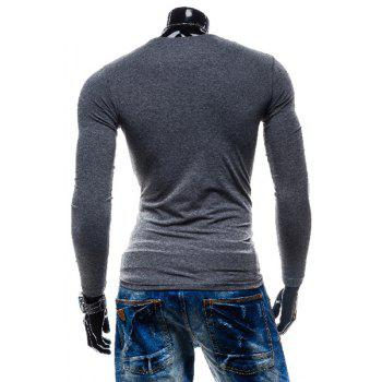 Laconic Personality Color Block V-Neck Slimming Long Sleeves Men's Cotton Blend T-Shirt - GRAY GRAY