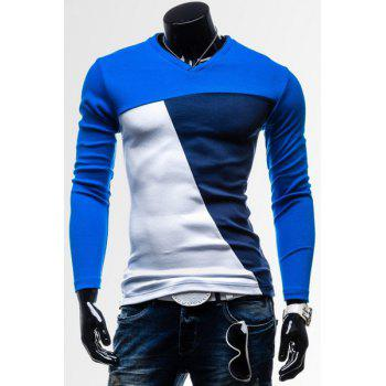 Classic Color Splicing V-Neck Slimming Long Sleeves Men's Cotton Blend T-Shirt - SAPPHIRE BLUE L