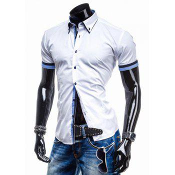 Slimming Turn-down Collar Houndstooth Print Color Block Button Fly Short Sleeves Men's Shirt - BLUE AND WHITE BLUE/WHITE