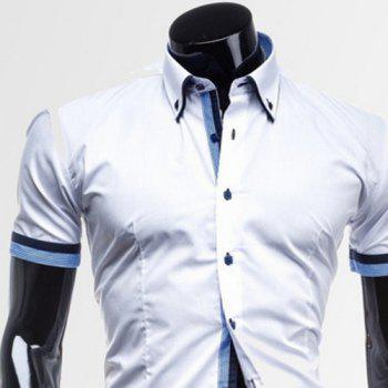 Slimming Turn-down Collar Houndstooth Print Color Block Button Fly Short Sleeves Men's Shirt - BLUE/WHITE BLUE/WHITE