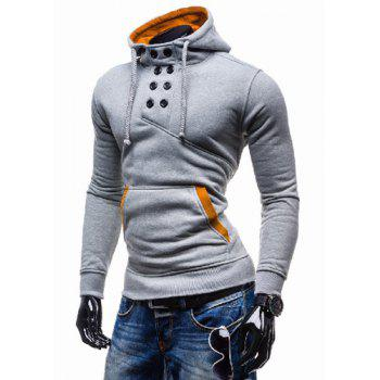 Novel Double-Breasted Embellished Hooded Color Splicing Slimming Long Sleeves Men's Hoodie - LIGHT GRAY LIGHT GRAY