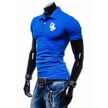 Fashion Turn-down Collar Embroidery Slimming Solid Color Short Sleeves Men's Polo T-Shirt - XL XL