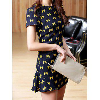 Sweet Bowknot Print Round Collar Short Sleeve Dress For Women - L L