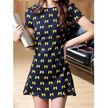 Sweet Bowknot Print Round Collar Short Sleeve Dress For Women - CADETBLUE L