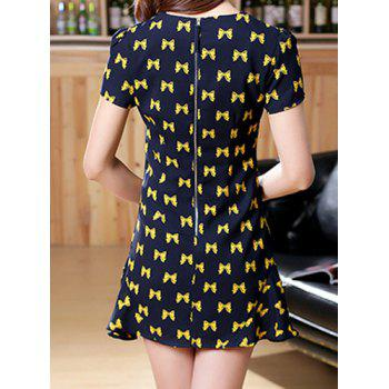 Sweet Bowknot Print Round Collar Short Sleeve Dress For Women - CADETBLUE CADETBLUE