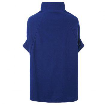 Fashionable Double-Breasted Stand Collar Cape Coat For Women - BLUE L