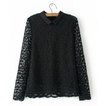 Sweet Pure Color Flat Collar Lace Long Sleeve Blouse For Women