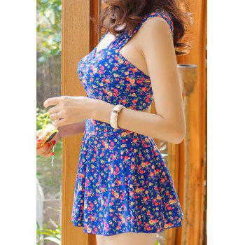 Alluring Sweetheart Neck Tiny Floral Print One-Piece Swimsuit For Women - XL XL
