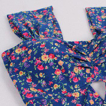 Alluring Sweetheart Neck Tiny Floral Print One-Piece Swimsuit For Women - BLUE BLUE