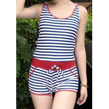Casual Women's Scoop Neck Short Sleeves Striped Hooded One-Piece Swimsuit - BLUE XL