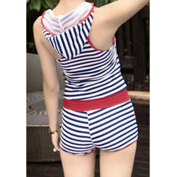 Casual Scoop Neck Short Sleeves Striped Hooded One-Piece Swimsuit For Women - L L