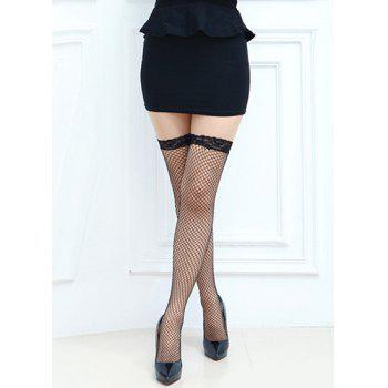 Pair of Chic Lace Edge Embellished Openwork Small Mesh Women's Stockings - BLACK BLACK