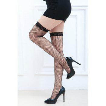 Pair of Chic Lace Edge Embellished Openwork Small Mesh Women's Stockings -  BLACK
