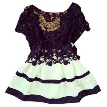 Sexy Scoop Collar Short Sleeve Spliced Hollow Out Women's Dress - WHITE AND BLACK WHITE/BLACK
