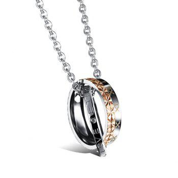 Trendy Chic Letter Carved Round Pendant Necklace For Lovers