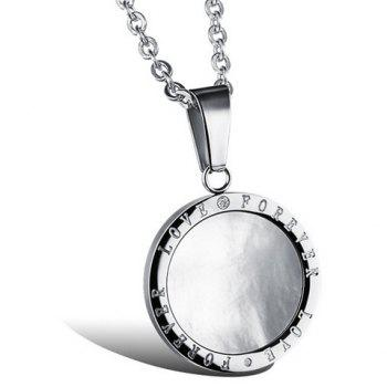 Trendy Chic Rhinestone Inlaid Letter Round Pendant Necklace For Lovers