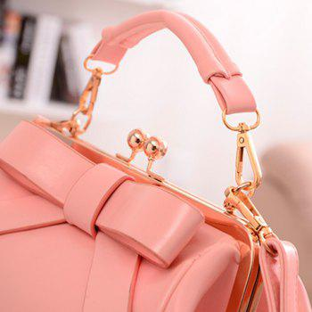 Gorgeous Bowknot and Metallic Design Crossbody Bag For Women - PINK