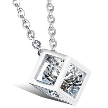 Rhinestone Cube Shape Pendant Necklace