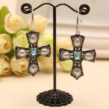Pair of Retro Faux Pearl Decorated Cross Earrings For Women