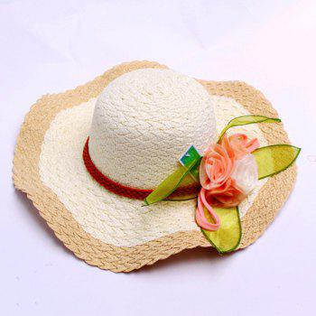 Chic Satin Ribbon Flower and Color Block Design Women's Weaving Sun Hat