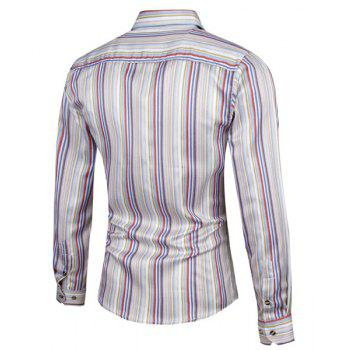 Stylish Colorized Vertical Stripe Print Turn-down Collar Slimming Long Sleeves Men's Shirt - STRIPE L