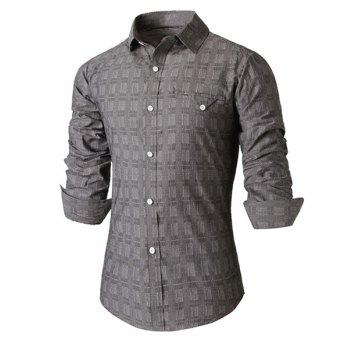 Casual Turn-down Collar Fashion Plaid Print Slimming Breast Pocket Long Sleeves Men's Shirt - GRAY GRAY