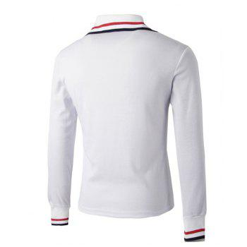 Trendy Turn-down Collar Bloc de couleurs Slimming Embroidery manches longues Homme Polo T-Shirt - Blanc M