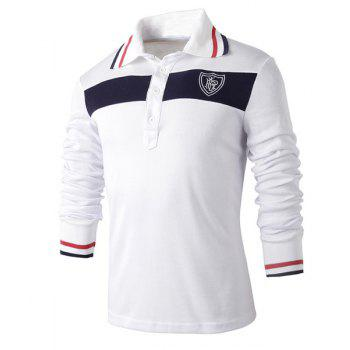 Trendy Turn-down Collar Color Block Slimming Embroidery Long Sleeves Men's Polo T-Shirt - WHITE M