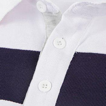 Trendy Turn-down Collar Color Block Slimming Embroidery Long Sleeves Men's Polo T-Shirt - M M