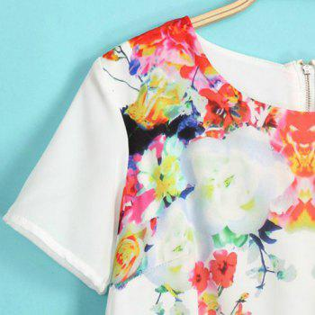 Stylish Floral Print Round Collar Short Sleeve Chiffon Dress For Women - COLORMIX COLORMIX
