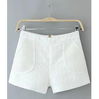 Stylish Solid Color Zipper Fly High-Waisted Shorts For Women