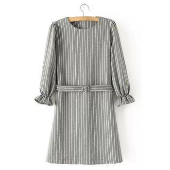 Simple Style 3/4 Sleeve Round Neck Vertical Striped Women's Dress