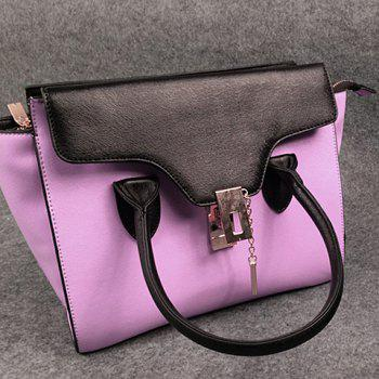 Elegant Color Block and Hasp Design Tote Bag For Women - ROSE