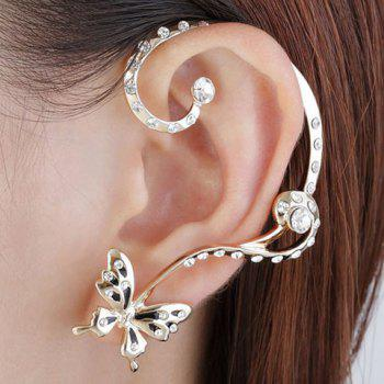Pair of Butterfly Rhinestone Inlaid Ear Cuffs